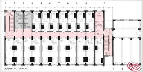 Grundriss Plan OG 2 Timber Campus - Ihr modulares Büro in Holz im Osten von München an der A94 und an der Bahn+++