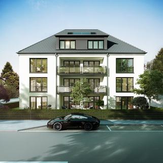 Ansicht 04 - Illustration Neubau - hochwertige EG-Wohnung mit Westterrasse und Garten