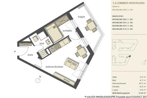 Grundriss 1,5 Zimmer Whg 399 383 391 407 415 Gallusviertel: Kompakte und aussergewöhnliche 1,5-Zimmerwohnung mit Loggia