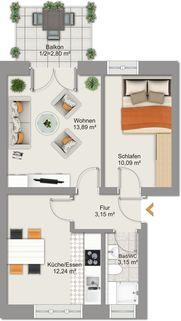 Grundriss Whg. 7_m Ruhig gelegene 2-Zimmer-Wohnung mit Balkon in Oberhausen