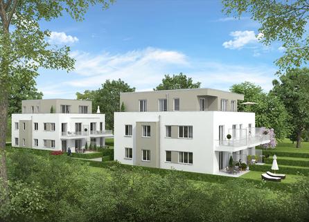 Hausansicht Neubau: 3 Zimmer Gartenwohnung mit Hobbyraum,2 Bädern und Privatgarten!