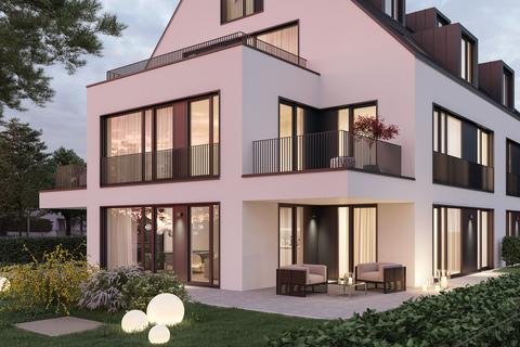 Ansicht Gartenwohnung Abendstimmung (Illustration) Erstbezug: Gartenwohnung mit 4 Zimmern und Hobbyraum