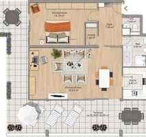 Grundriss_möbliert Für Terrassenliebhaber, schöne 2-Zimmer-Wohnung mit 2 großzügigenTerrassen, Bestlage Menterschwaige
