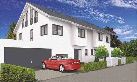 Die Straßenansicht Verkauft: Sehr große und modern geplante Doppelhaushälfte in OTTOBRUNN