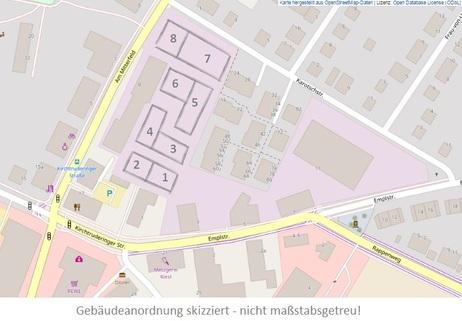 Gebäudeanordnung skizziert 3,5-Zimmer-Wohnung in Kirchtrudering - Neubau!