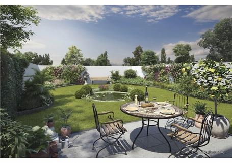 Illustration Gartenhofhäuser Innenhof Großzügiges Reiheneckhaus mit ca. 247m² Wohn- & nutzbarer Fläche im günstigen ERBBAURECHT