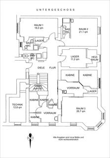 Grundriss Souterrain Praxisräume der Extraklasse in Stilaltbau