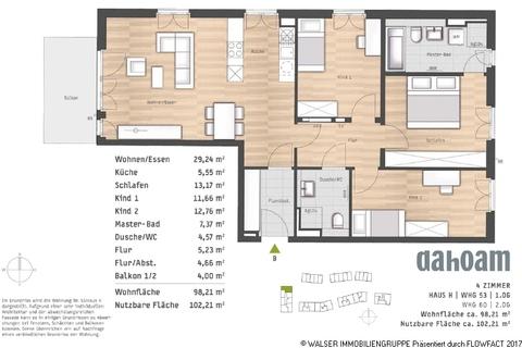 Grundriss-Haus H-WHG 53 und 60 Ihr neues Zuhause – Wohnoase im Grünen: Wunderschöne 4-Zimmerwohnung in Vaterstetten