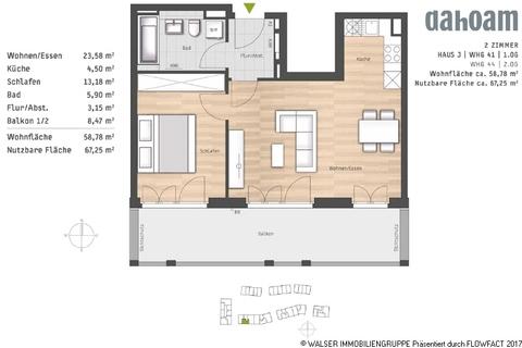 Grundrisse-Haus J-WHG-41 und 44 Attraktive 2-Zimmerwohnung: Raumwunder mit wunderbarem Blick ins Grüne