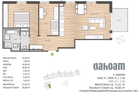 Grundriss-Haus G-WHG-41 und 63 Vaterstetten 3-Zimmer-Neubau-Whg.! Jetzt noch Vorteilspreis sichern und bereits Ende 2018 einziehen