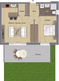 Grundriss - WE1 EG Exklusive Villen-Wohnungen in Lappersdorf-WE1