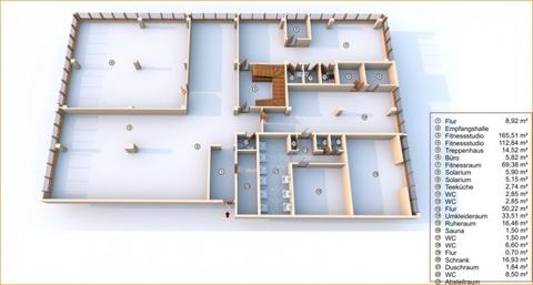 Fitnessstudio 3D EG Lukratives Gewerbeimmobilien-Rendite-Paket (Fitness-Studio, Solarium, Geburtshaus) in HRO zu kaufen!