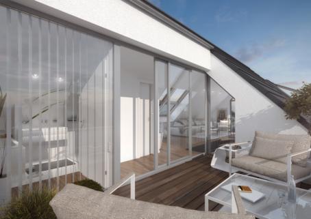 Ansicht Loggia Superlative für modernes Wohnen! 3 Zimmer-Galeriewohnung, Terrasse, Arbeitszimmer, Tiefgarage, Lift