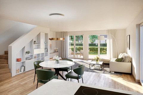 Wohnbereich mit Zugang zum Garten (Illustration) Großzügiges Doppelhaus mit 5 Zimmern, Hobbybereich und Garten