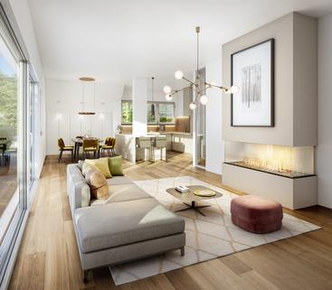 Illu DG Wohnbereich Neubau - großzügige Maisonnettewohnung in super Lage