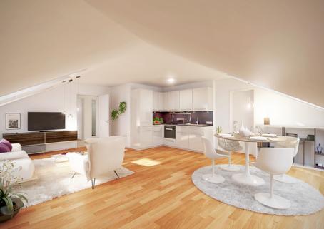 Wohnzimmer Neubau 2-Zimmer-Wohnung im DG
