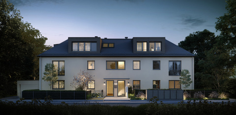 Illu G129 - Hauseingang Wohnen auf zwei Ebenen mit Garten!