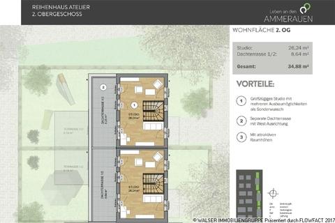 Atelierhaus 2 OG Den persönlichen Anspruch verwirklichen: Atelierhaus mit riesiger Dachterrasse und tollem Garten