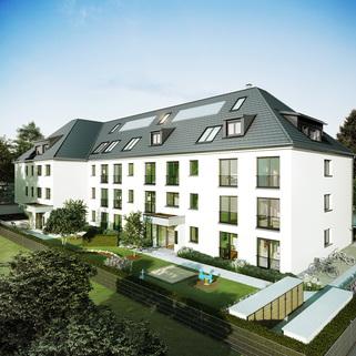 Ansicht 03 - Illustration Neubau - hochwertige EG-Wohnung mit Westterrasse und Garten