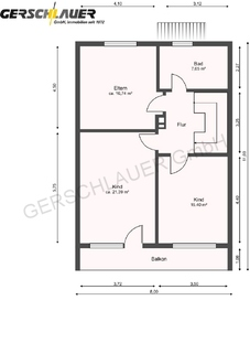 Grundriss Obergeschoss Große Doppelhaushälfte in der Hammerschmiede
